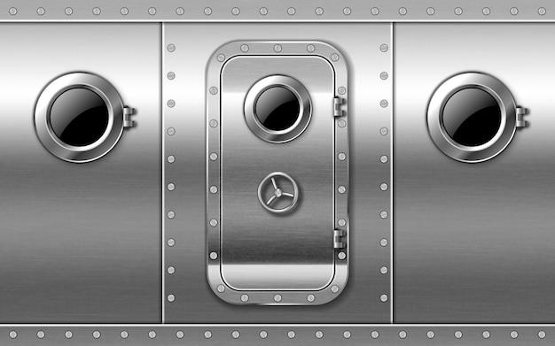 Metalowe drzwi na ścianie z iluminatorami i nitami, wejście do łodzi podwodnej lub bunkra zamknięte.