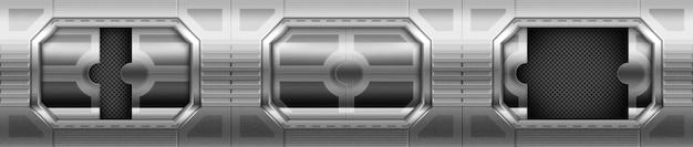Metalowe drzwi, przesuwne bramy we wnętrzu korytarza statku kosmicznego.
