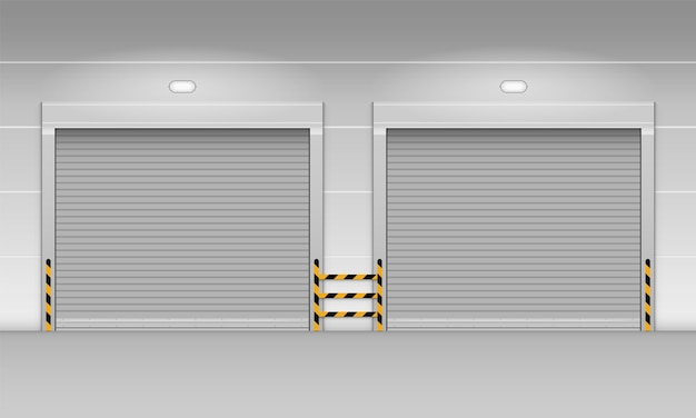 Metalowe drzwi rolowane roletowe magazynu fabrycznego lub garażu.