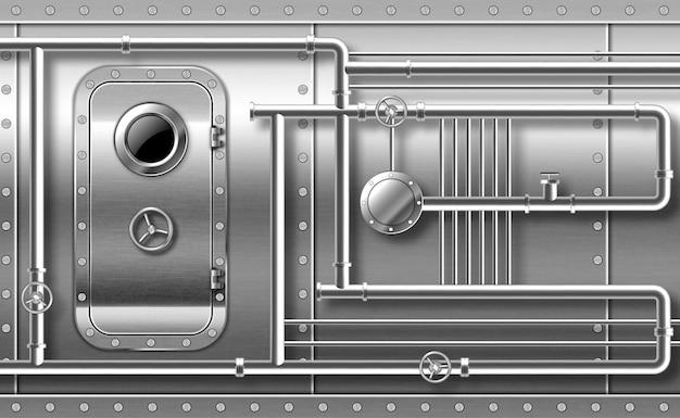 Metalowe drzwi z iluminatorem na ścianie z rurami, zaworami i nitami. zamknięte wejście do bunkra. statek lub tajne laboratorium stalowe kuloodporne drzwi z iluminatorem i obrotowym kołem blokującym realistyczny wektor 3d