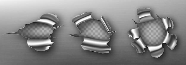 Metalowe dziury z kręconymi krawędziami, poszarpane pęknięcia