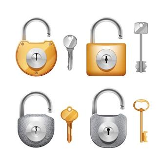 Metalowe kłódki i klucze w różnych kształtach realistyczny zestaw