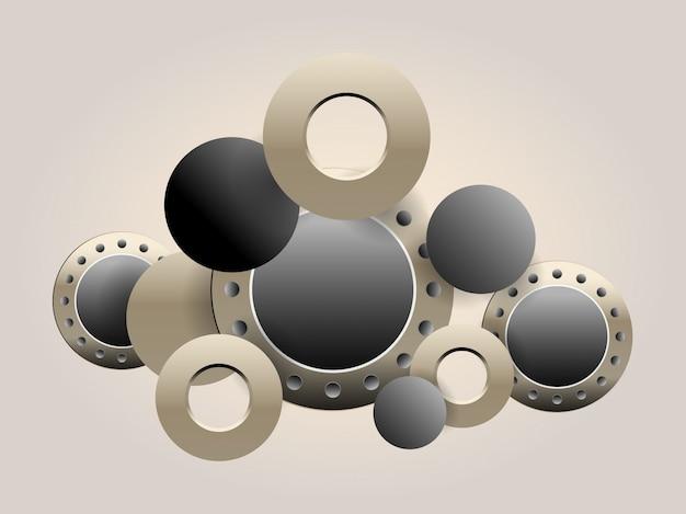 Metalowe koło zębate, ilustracja hi-tech, inżynieria, cyfrowe telekomunikacje, koncepcja technologii na zielonym tle.