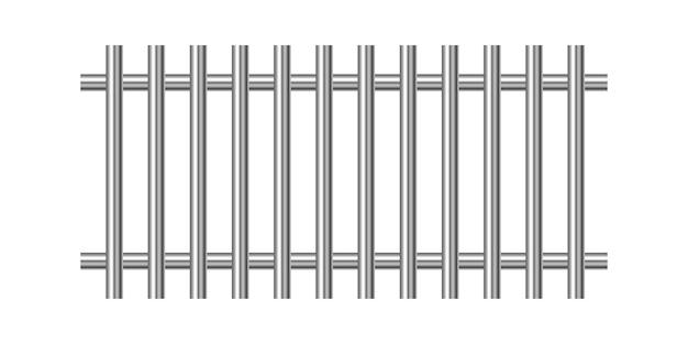 Metalowe kraty więzienne na białym tle
