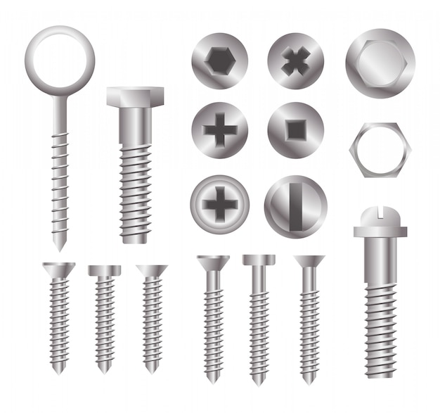 Metalowe łby śrub. zestaw różnych typów łbów śrub na białym tle