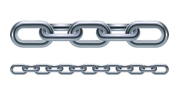 Metalowe ogniwa łańcucha ilustracja na białym tle