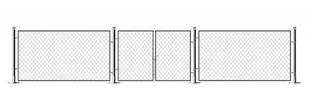 Metalowe ogrodzenie z łańcuszkiem.