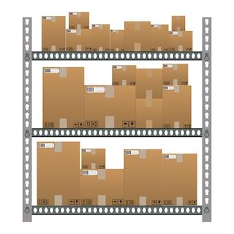 Metalowe półki z brązowymi pudełkami z kreskówkami.