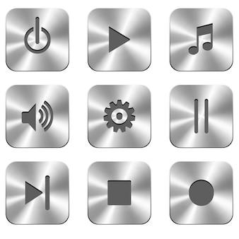 Metalowe przyciski do odtwarzacza multimedialnego.