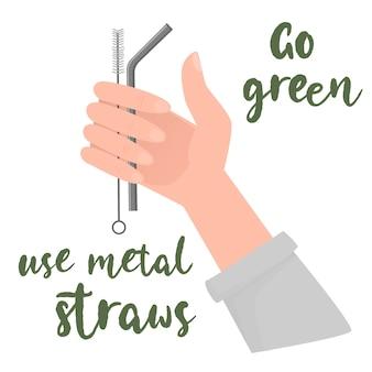 Metalowe słomki w ręku ludzie używają metalowych słomek zamiast plastikowych zero odpadów dla koncepcji wektora życia bez plastikowej zielonej ilustracji środowiskowej na białym tle ilustracji wektorowych