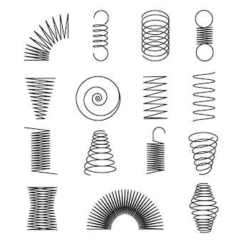 Metalowe sprężyny. spiralne linie, cewki kształty na białym tle symboli wektorowych