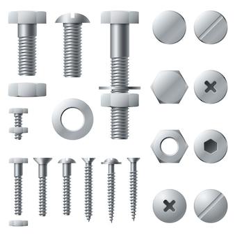 Metalowe śruby. elementy konstrukcyjne ze stali z nakrętką i nakrętką. zestaw na białym tle realistyczne śruby