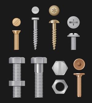 Metalowe śruby i wkręty, srebrne narzędzia do naprawy sprzętu budowlanego, realistyczny setisolated