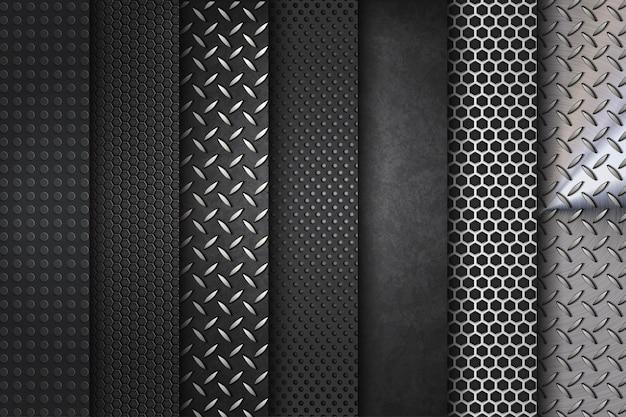 Metalowe tło zestaw kolekcji stali