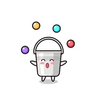 Metalowe wiadro cyrkowe kreskówki żonglujące piłką, ładny styl na koszulkę, naklejkę, element logo