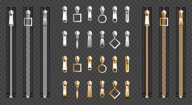 Metalowe zamki błyskawiczne, komplet ściągaczy ze srebrnymi zamkami