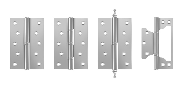 Metalowe zawiasy drzwiowe srebrne okucia budowlane na białym tle