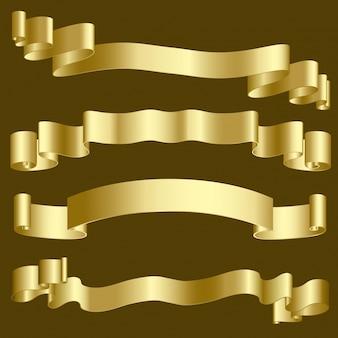 Metalowe złote wstążki i banery