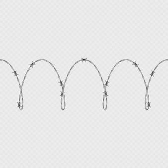 Metalowy drut kolczasty poziome bezszwowe granica szablon i elementy obiektu.