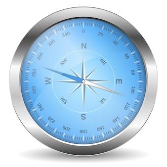 Metalowy kompas na białym tle, ilustracja