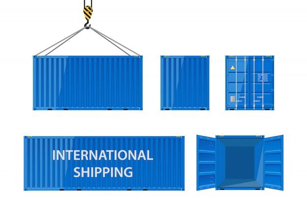 Metalowy kontener transportowy do przewozu ładunków.