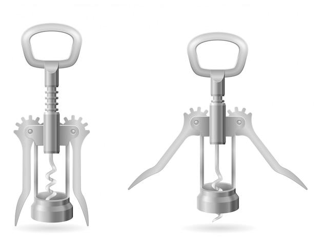 Metalowy korkociąg do otwierania korka w ilustracji wektorowych butelki wina