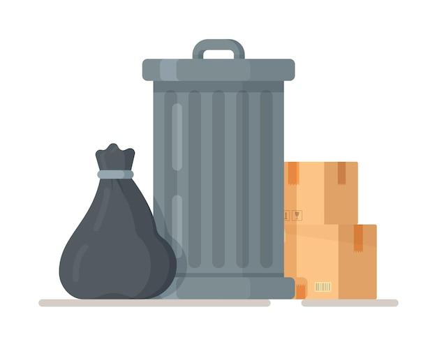 Metalowy kosz na śmieci. ikona śmietnika na płaskiej powierzchni. recykling. ochrona środowiska. pojemnik na odpady organiczne. śmieci w pudełkach i workach.