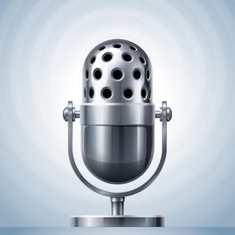 Metalowy mikrofon. zastosowana przezroczystość. rgb. kolory globalne. używane gradienty
