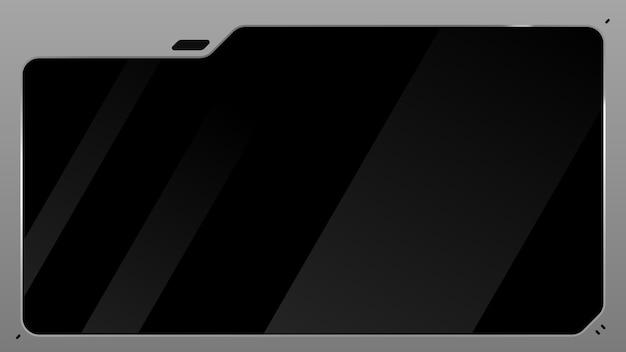 Metalowy monitor sci fi z czarnego szkła