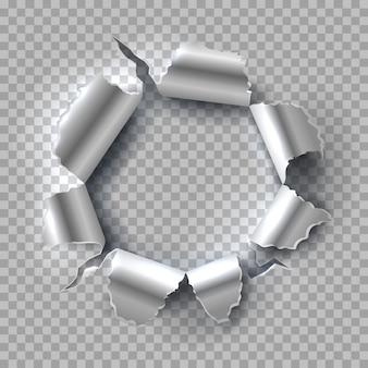 Metalowy otwór na przezroczystym
