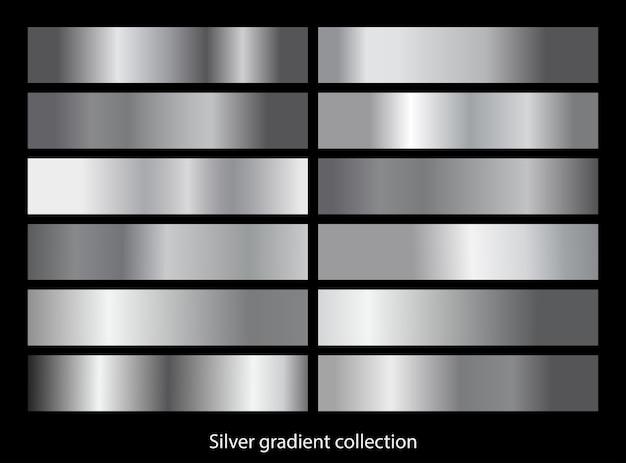 Metalowy srebrny zestaw szablonów gradientu. kolekcja metalowego gradientu.