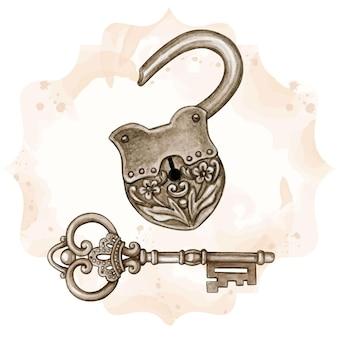 Metalowy wiktoriański klucz w stylu fantasy i otwarty zamek