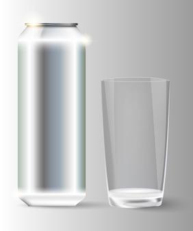 Metalowy ze szklanym słojem.