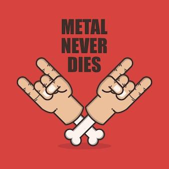 Metalowy znak ręką