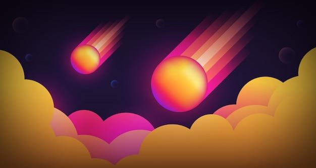 Meteorowy spadek ilustraci tło