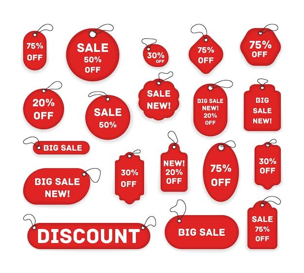 Metki cenowe, banery z czerwoną wstążką. naklejki na metki, etykiety sprzedaż plakaty i banery szablony ikon naklejek. realistyczna zniżka, najlepsza cena wyboru.