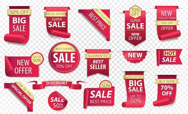 Metki z cenami, banery z czerwoną wstążką. promocja sprzedaży, naklejki na stronę internetową, nowa kolekcja znaczków oferty na białym tle. .