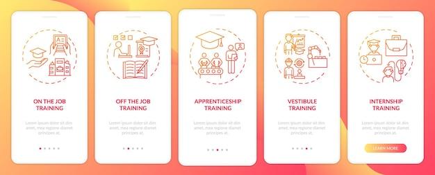 Metody instruktażowe personelu wprowadzające ekrany aplikacji mobilnej z koncepcjami. praktyki, praktyki, instruktaż kursów 5 kroków. szablon ui z kolorem rgb