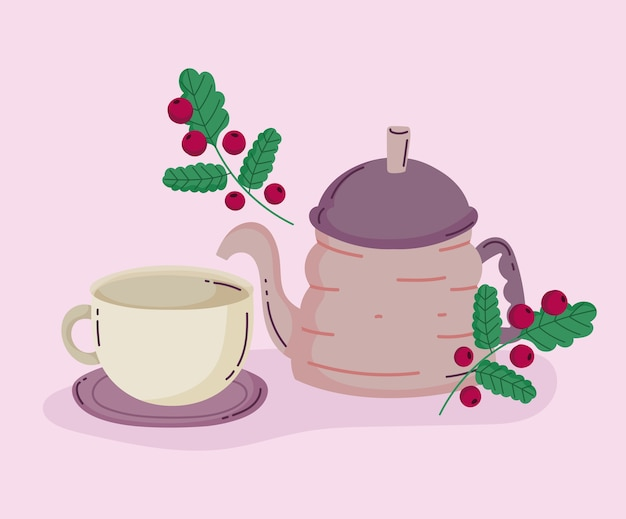 Metody parzenia kawy, czajniczek i gałązka z nasionami