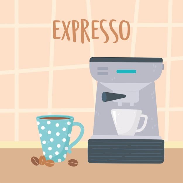 Metody parzenia kawy, ekspres do kawy z filiżankami i ilustracją nasion