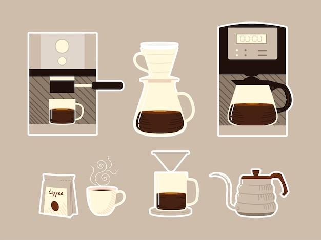 Metody parzenia kawy, ekspresy, kubki, czajniki i ikony opakowań