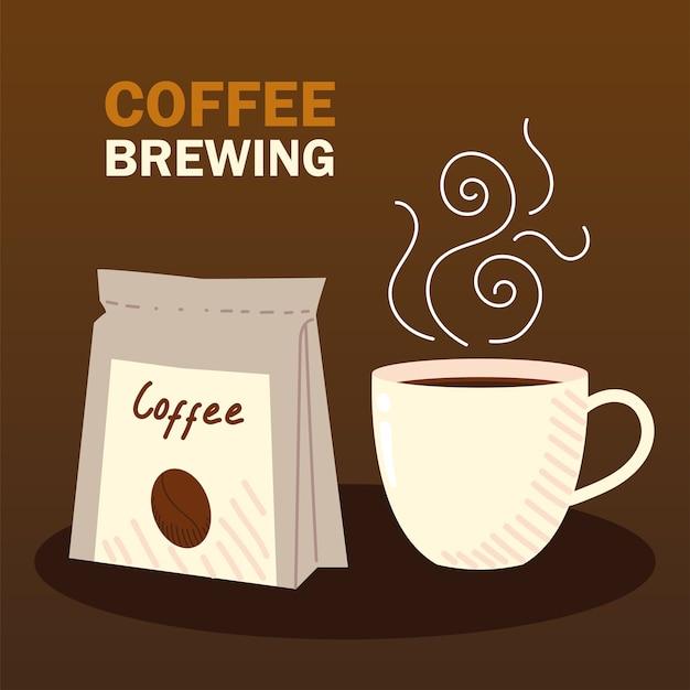 Metody parzenia kawy, filiżanka gorącej kawy i produkt w opakowaniu