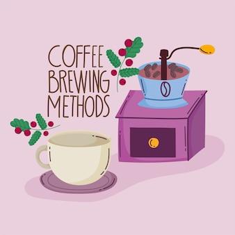 Metody parzenia kawy, młynek ręczny i kubek ceramiczny