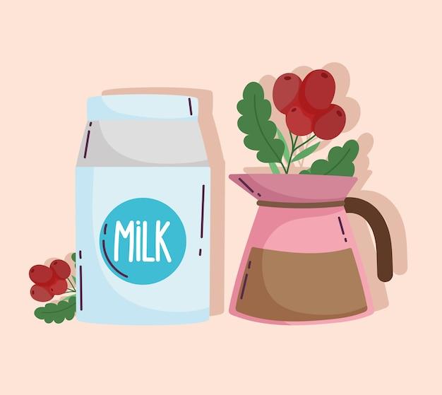 Metody parzenia kawy, pojemnik na mleko i czajnik z nasionami