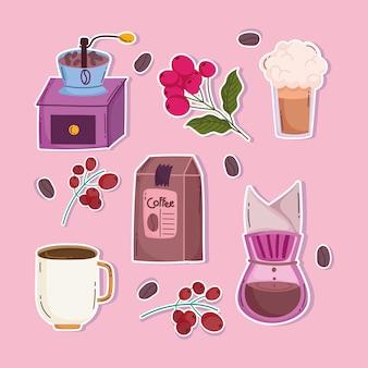Metody parzenia kawy, ręczne młynki do pakowania, kubki, kroplówki, gałęzie i nasiona