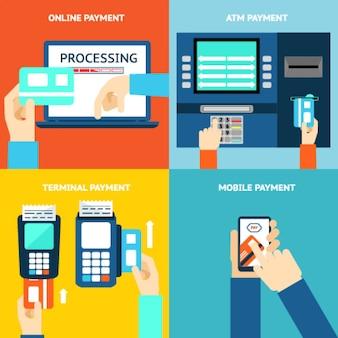 Metody płatności. biznes i kup, płaska konstrukcja i pieniądze. karta kredytowa, gotówka, aplikacja mobilna i terminal bankomatowy. ilustracji wektorowych