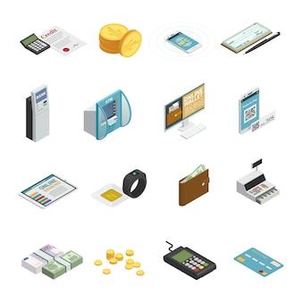 Metody płatności ikony izometryczne kolekcja z banknotów gotówkowych monety kart kredytowych i smartfonów na białym tle
