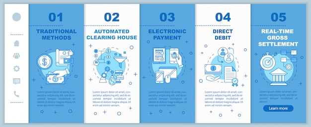 Metody płatności na pokładzie mobilnego szablonu stron internetowych. polecenie zapłaty. responsywny pomysł na interfejs smartfona z liniowymi ilustracjami.