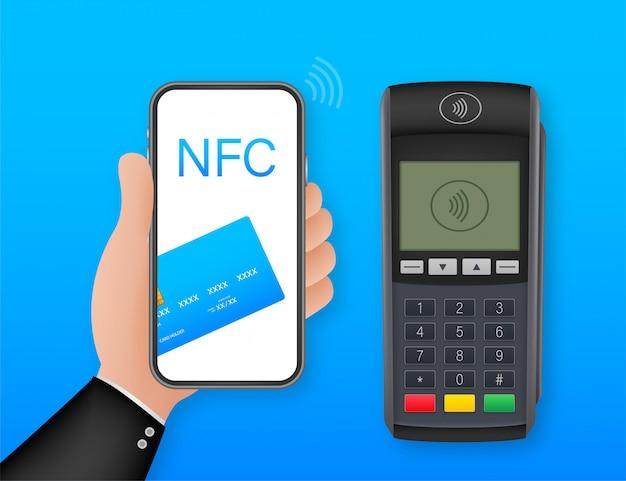 Metody płatności zbliżeniowych inteligentny telefon komórkowy i bezprzewodowy terminal pos realistyczny styl. ilustracja