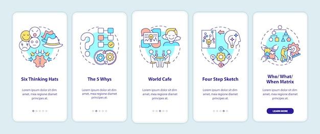 Metody rozwiązywania problemów wprowadzające ekran strony aplikacji mobilnej z koncepcjami